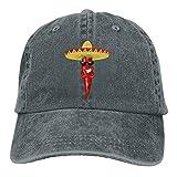 Zhgrong Cool Chili Pepper Denim Hat Adjustable Men's Plain Baseball Cap Mens Caps