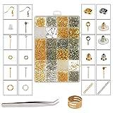 ZoomSky Kit Fabrication de Bijoux, 2416 Pcs Kit Bijoux Création Argent Or Fermoir Bracelet Accessoire de...