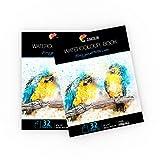 """2 x Bloc de Papier Aquarelle pour Peintures Aquarelles - Format A4 (9"""" x 12"""") - 2 x 32 Feuille Blanche..."""