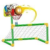 deAO Jeu de Sport 2in1 Basketball et Football Set Pour Enfants - Objectif, Panier et Ballons Inclus