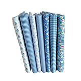 Timlatte 7pcs Blue Series Cotton Fabric Flower Floral Pattern Sewing Textile Material for DIY Patchwork...