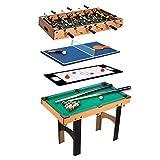 Homcom Table Multi Jeux 4 en 1 babyfoot Billard air Hockey ping-Pong avec Accessoires MDF Bois 87 x 43 x 73 cm