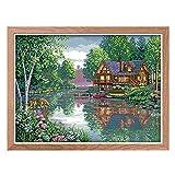 Ensembles de points de croix, Kit de broderie bricolage Tissu 14 ct Beaux motifs ornements Paysage Peinture...
