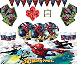 Marvel Spiderman Party Supplies Enfants Anniversaire Vaisselle Spiderman Décorations pour 32 - Spider Man...