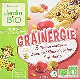 Jardin Bio Barres Moelleuses Grainergie Sésame Noix de Cajou Cranberry sans Gluten 75 g - Lot de 5