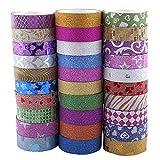 Washi Tape Glitter,30 Rolls Art Craft Ruban Adhésif Papier Décoratif Masking Tape, Washi Bande de Masquage...