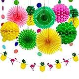 Aneco 11 Pièces D'été Partie Décoration Kit Tissu Ananas Papier Pom Poms Fleurs Papier Papier Ventilateur...