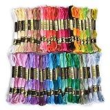 Flissy - Lot de 50 échevettes de fil à broder - Assortiments de couleur