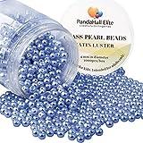 PandaHall Elite 4mm environ 1000Pcs Lustre Satine Perle en verre Rond Beads Perles Assortiment Lot ,Pr...