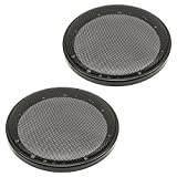 Grille de haut-parleur/-grill de 165 mm (noir), 2 pièces à un cercle en plastique avec grille en métal