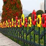 Sungmor Bordure décorative à planter pour jardin Tulipes et tournesols Plastique 4pc Pack(Overal...