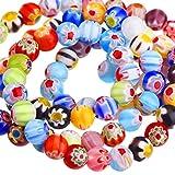 Sumind 200 Pièces 6 mm Millefiori Perles Rondes en Verre avec Une Seule Fleur pour la Fabrication de Bijoux...