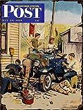 OMSC Saturday Evening Post Plaque en Métal, 1950, Magazine Cover, Automobile, Auto, Vintage, Rétro 12'x16'...