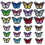 NATUCE 24PCS Papillon Patch Thermocollant, Thermocollant Autocollant de Patch Broderies Écusson Brodé Patch...