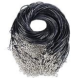 (44.5+4.5cm)100pcs Collier Corde de Cire avec Fermoir de Homard Noir Fil Collier pour Fabrication Bijoux...
