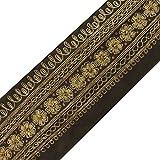 Vintage Indian Sari Border Utilisé perlée main gris antique ruban couture 1YD Garniture