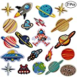 MWOOT Broderie Patch Thermocollant, 21 PCS Planet Broderie Autocollant Iron-on Patches Appliques Ecussons à...