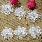 1metre Fleur Perle Dentelle ruban 4.5cm de largeur Style vintage Blanc cassé bordures garnitures Tissu...