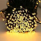 Quntis Guirlandes Lumineuses 40M Blanc Chaud 300 LED Lumière Piles 4*AA Exterieur 8 Modes Intérieur Tactile...