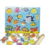 14pcs poisson développement éducatif bois tables de pêche magnétiques puzzle jeux de jeu jouets jouets...