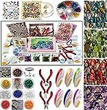 Kit de fabrication de bijoux - contient un vaste assortiment de perles de acrylique, cordon élastique,...