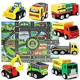 Mini Modèle de Voiture Ensemble de Jouets de camions avec Tapis de Jeu pour les Enfants Garcon 3 ans
