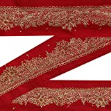 Indian Vintage Red Sari Border perlée Main Utilisé Antique Ruban Couture 1YD Garniture