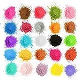MOSUO Pigments Poudre de Mica, 25 Couleurs Colorant de Savon(5g), Pigment Resine Epoxy Pailletées Naturel...