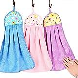 Tong Yue - Serviette en velours corail doux couleurs bonbon - Essuie-mains à suspendre pour cuisine et salle...