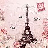 Lot de 4serviettes en papier pour le découpage- motifs Paris romantique - pour les loisirs créatifs - 3...