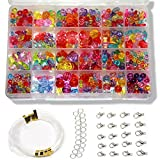 Ewparts 24 types Perles pour Enfants DIY Bracelet Bead Art (Transparent Coloré)