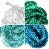 Cordon queue de rat en satin 2 mm mélange océan 4 couleurs 5,4 m chacun - Bleu sarcelle, blanc, turquoise,...