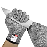 LayOPO Gants résistants aux coupures HPPE Niveau 5 Protection des mains, Gants de travail résistants aux...