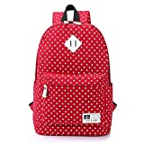 coksupa 20-35L Pois léger sac à dos Casual Sac à dos ondelette point Toile Fashion sac à dos avec doublure...