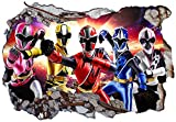 Power Rangers Ninja Steel V002 Sticker Mural Autocollant Mural fissuré 1000 mm de Large x 600 mm de...