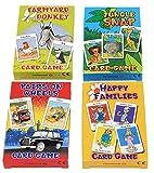 Cartamundi Lot de 4 jeux de cartes assortis pour enfants Farmyard Donkey, Happy Families, Jungle Snap et Pairs...