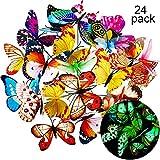 Shappy 20 Pièces Papillons de Jardin et 4 Pieces Libellules de Jardin Ornements de Jardin pour Décoration de...