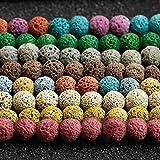 Danigrefinb DIY Charms Creative Unisexe Pierre de lave Naturelle Perles Rondes Lose DIY Bracelet Artisanat,...