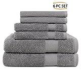 SweetNeedle - Lot de 6 serviettes à usage quotidien, Charbon - 2 serviettes de bain 70x140 CM, 2 serviettes...