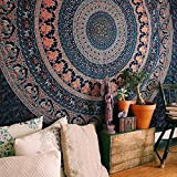 Grand tissu de décoration murale Craftozone, style mandala, avec motif éléphant et paon, esprit bohème,...