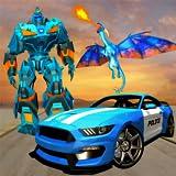 La police américaine transforme les jeux de voiture de robot dragon pour les enfants - la guerre du dragon de...